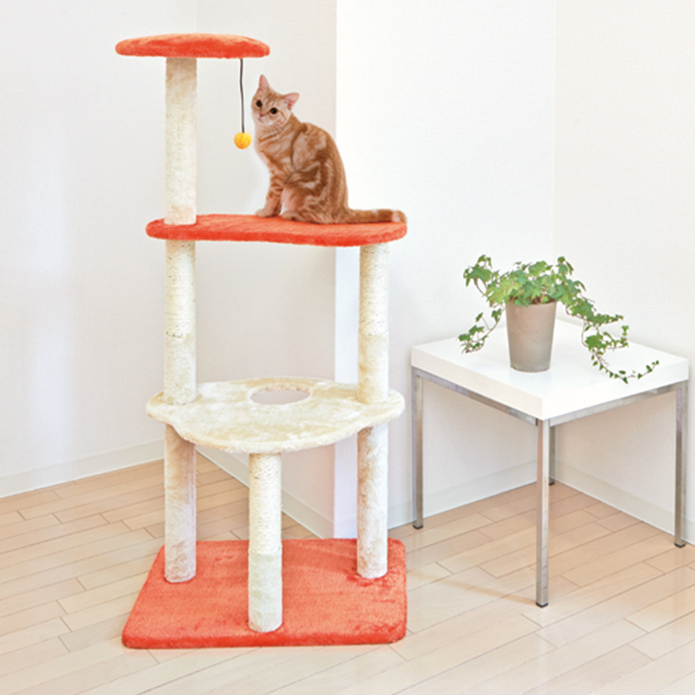 くぐり穴&おもちゃ付きシンプルなキャットタワー